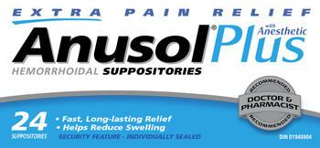 ANUSOL PLUS SUPPOSITORIES 24'S - NorthernVitality.us