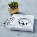 Enamel Anchor Braided Bangle in Silver