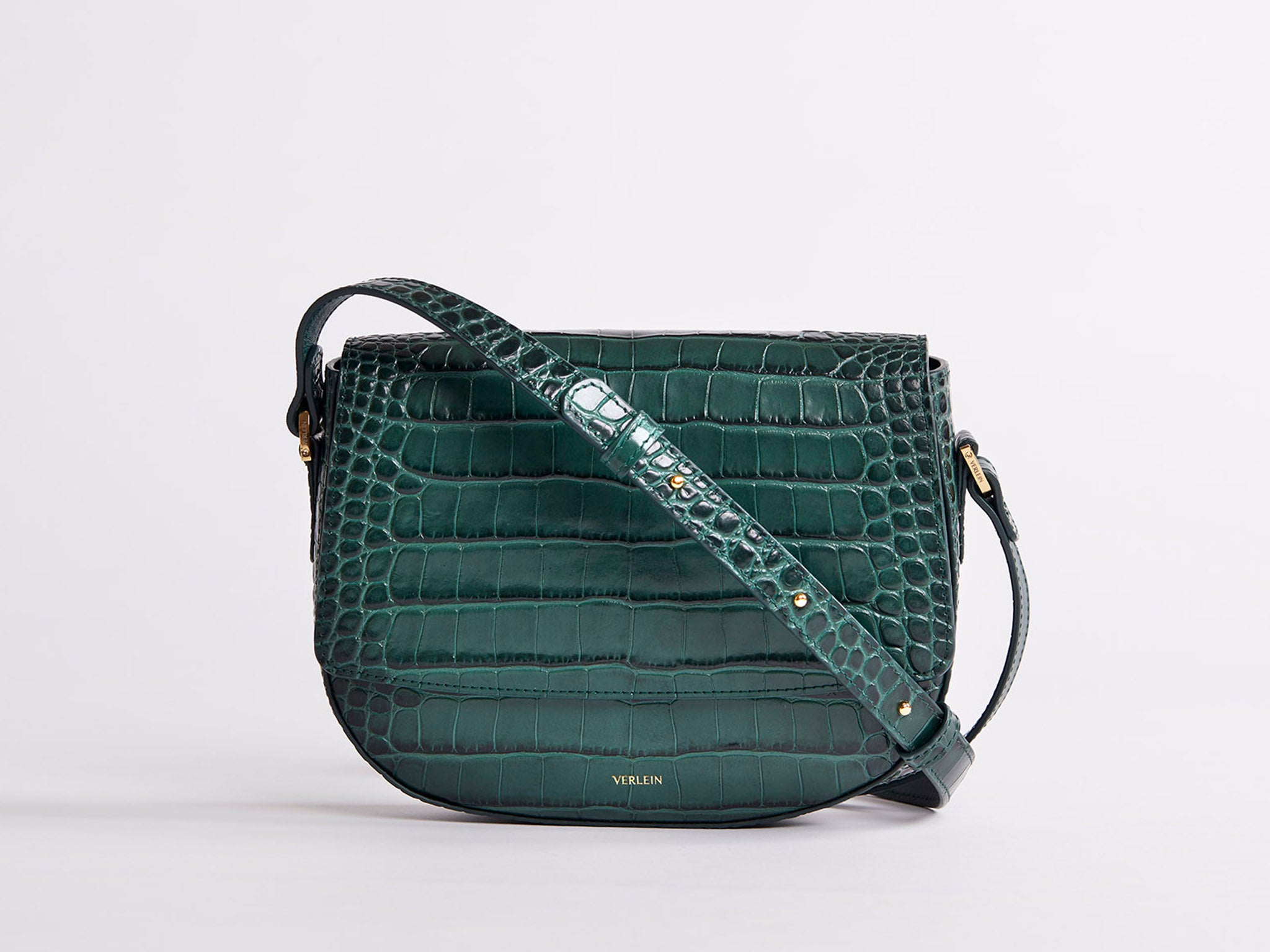 Amazon Green | Ana Cinch Croc Crossbody Bag | Verlein