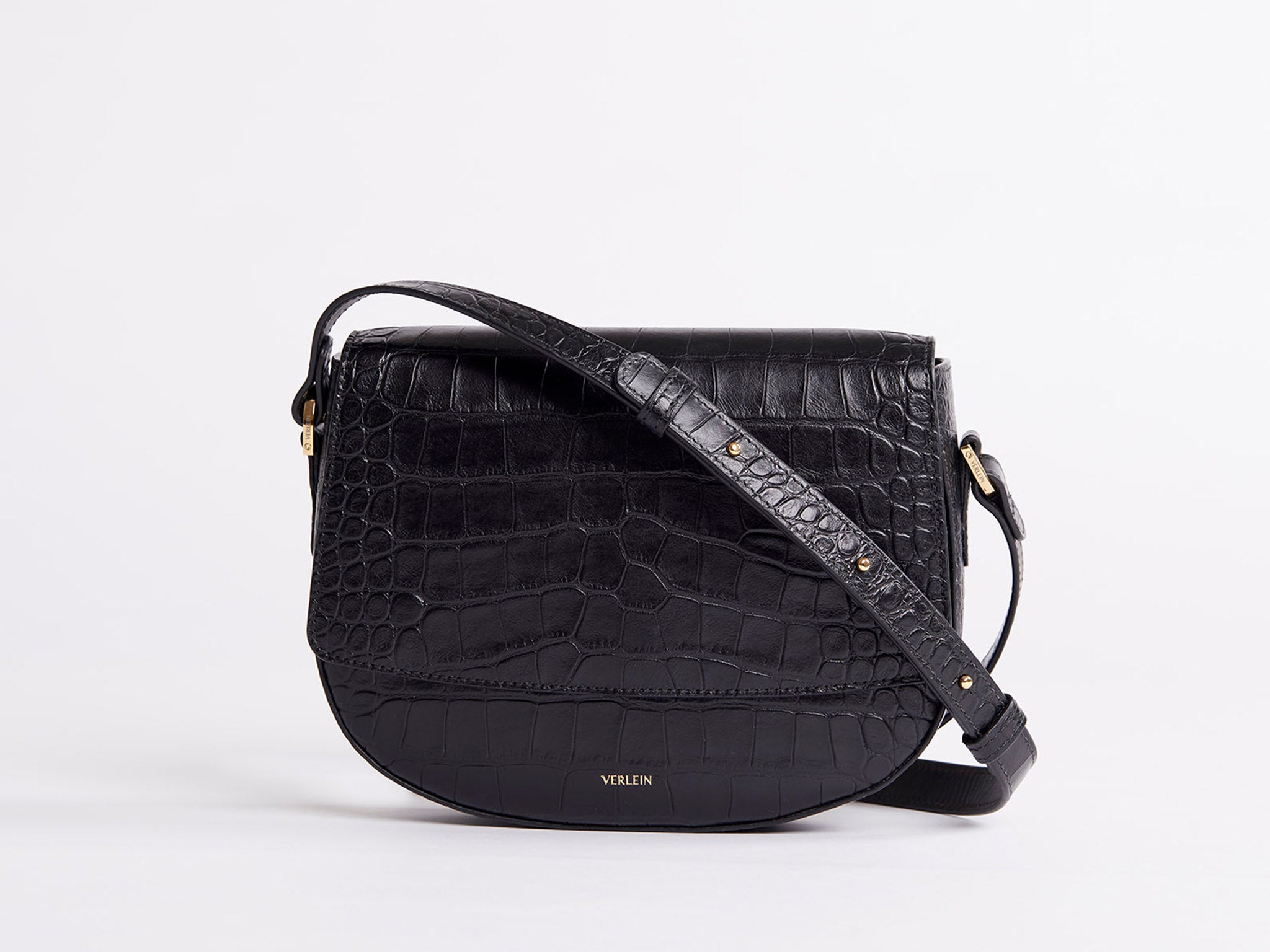 Matte Black Croc | Ana Cinch Croc Crossbody Bag | Verlein
