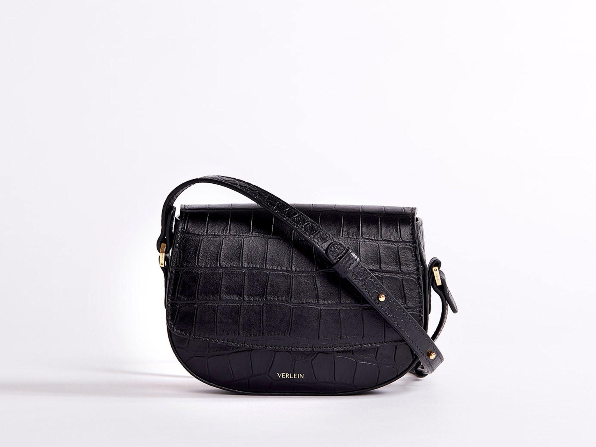 Matte Black | Ana Mini Croc Crossbody | Verlein