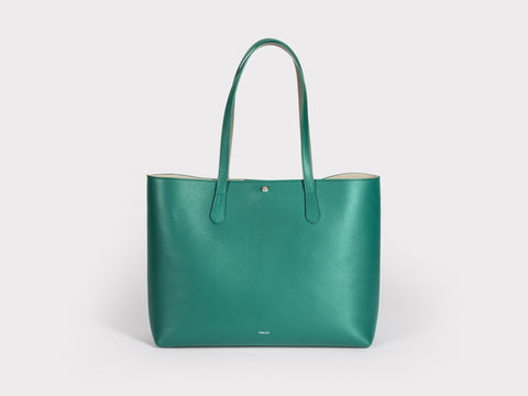 Julia Cinch Tote Bag in Emerald Green | Verlein
