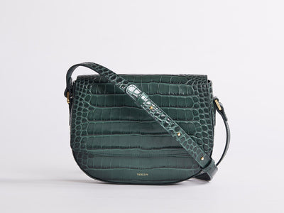 Ana  Crossbody by Verlein, in Amazon Green.  Front view.