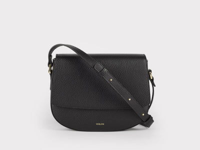 Ana  Crossbody by Verlein, in Jet Black.  Front view.
