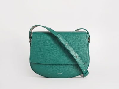 Ana  Crossbody by Verlein, in Emerald Green.  Front view.