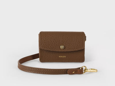 Ines  Coinpurse from Verlein, with Strap, in Chocolate Brown.  Front view.