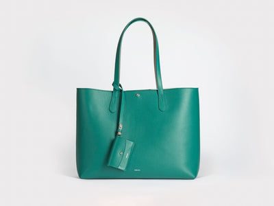 Verlein Julia  Tote Bag, in Emerald Green.  Front View with optional coinpurse attached.