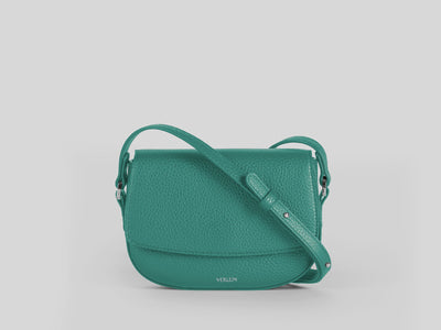 Ana Mini Crossbody by Verlein, in Emerald Green.  Front View.