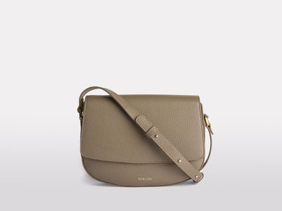 Ana Mini Crossbody by Verlein, in Taupe / Santorini.  Front View.