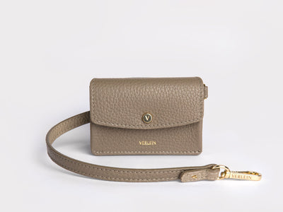 Ines  Coinpurse from Verlein, with Strap, in Taupe.  Front view.