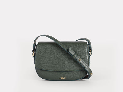Ana Mini Crossbody by Verlein, in Forest Green.  Front View.