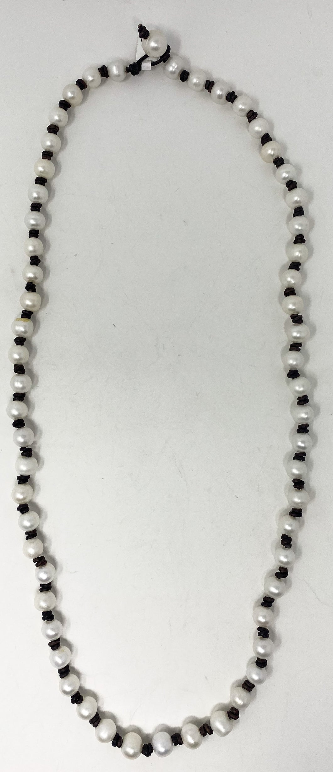 Leather and Pearl Necklace 30""