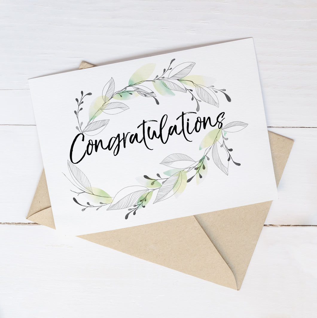 Congratulations Wreath  – C6 Greeting Card