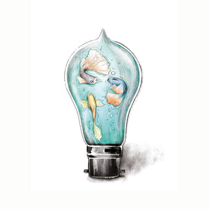 Encapsulated fish in a light bulb Imperium Illustrations watercolour