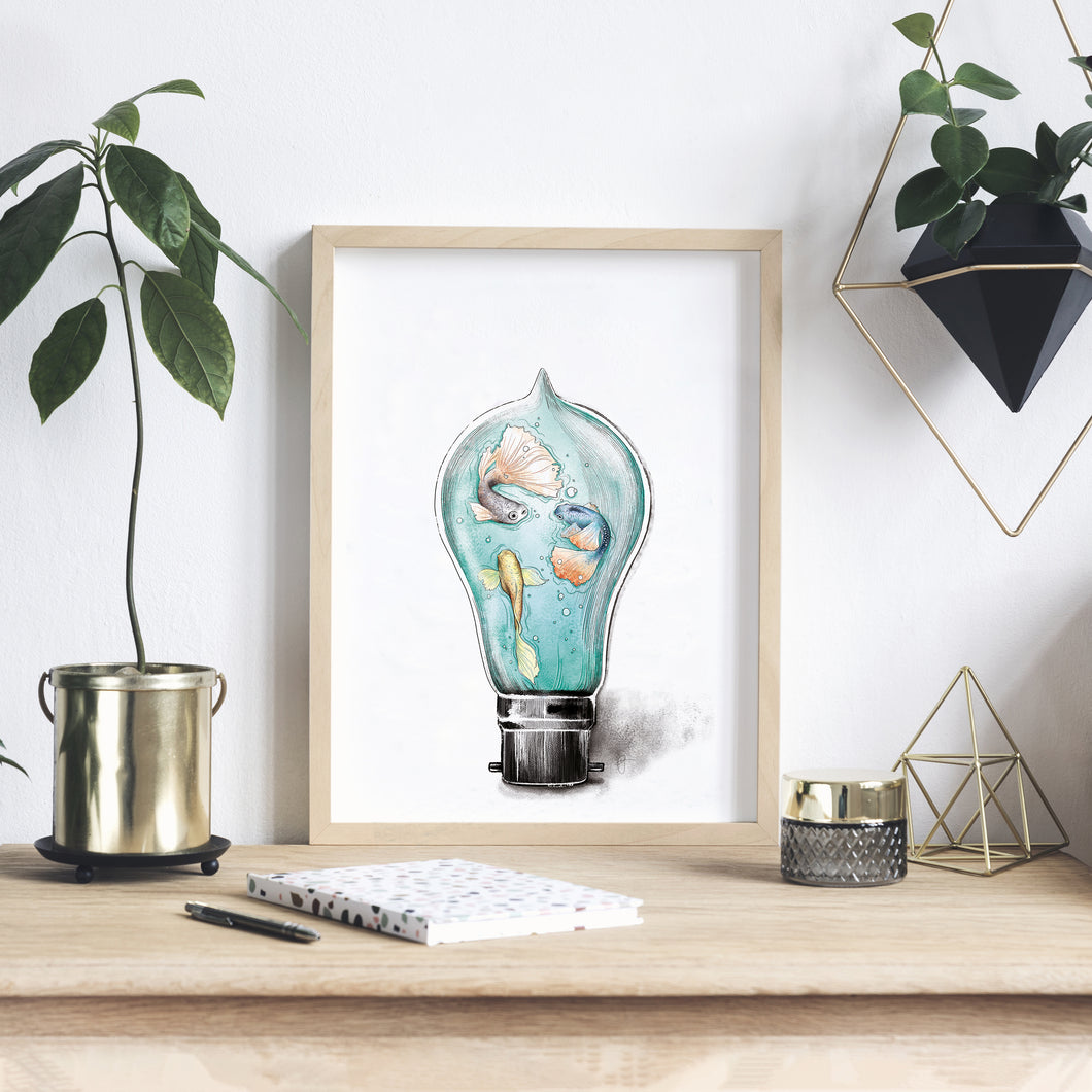 Encapsulated fish in a light bulb Imperium Illustrations framed archival print