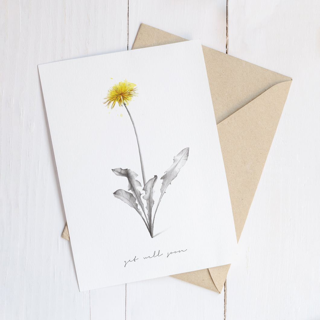 Get Well Soon Dandelion  – C6 Greeting Card