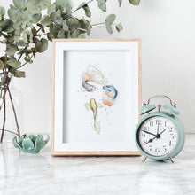 Load image into Gallery viewer, Guppy Gang fish watercolour Imperium Illustrations framed archival print