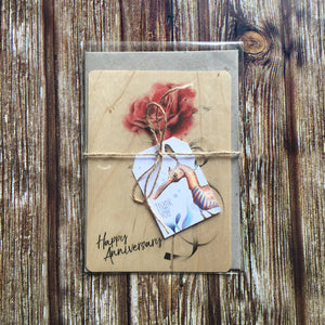 'Happy Anniversary' Rose Wooden Greeting Card