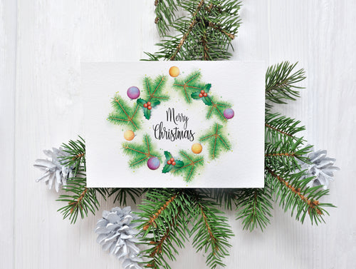 Merry Christmas Wreath – C6 Christmas Card