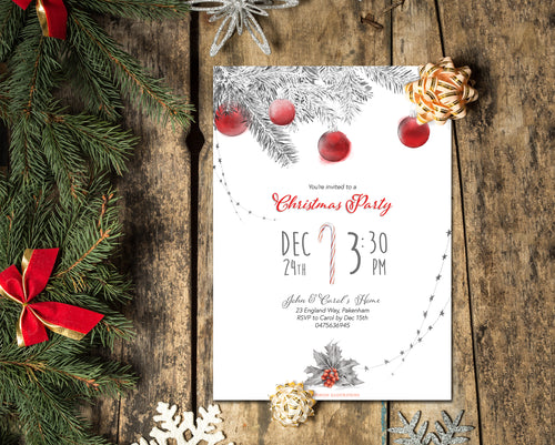 Elegant Printable Christmas Party Invitation