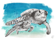 Load image into Gallery viewer, sea turtle watercolour