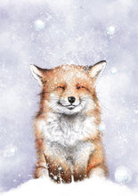 Load image into Gallery viewer, fox in the snow illustration