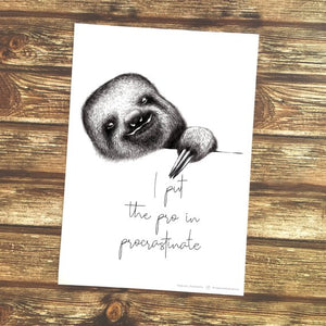 Sloth Procrastination Quote – Printable Art