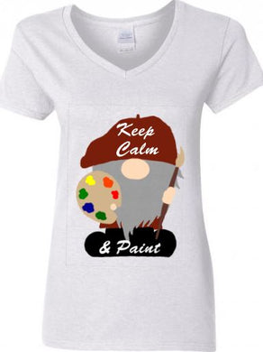 Gnome Artist Ladies V-neck T-shirt