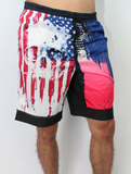 Men's American Flag Skull Workout Short