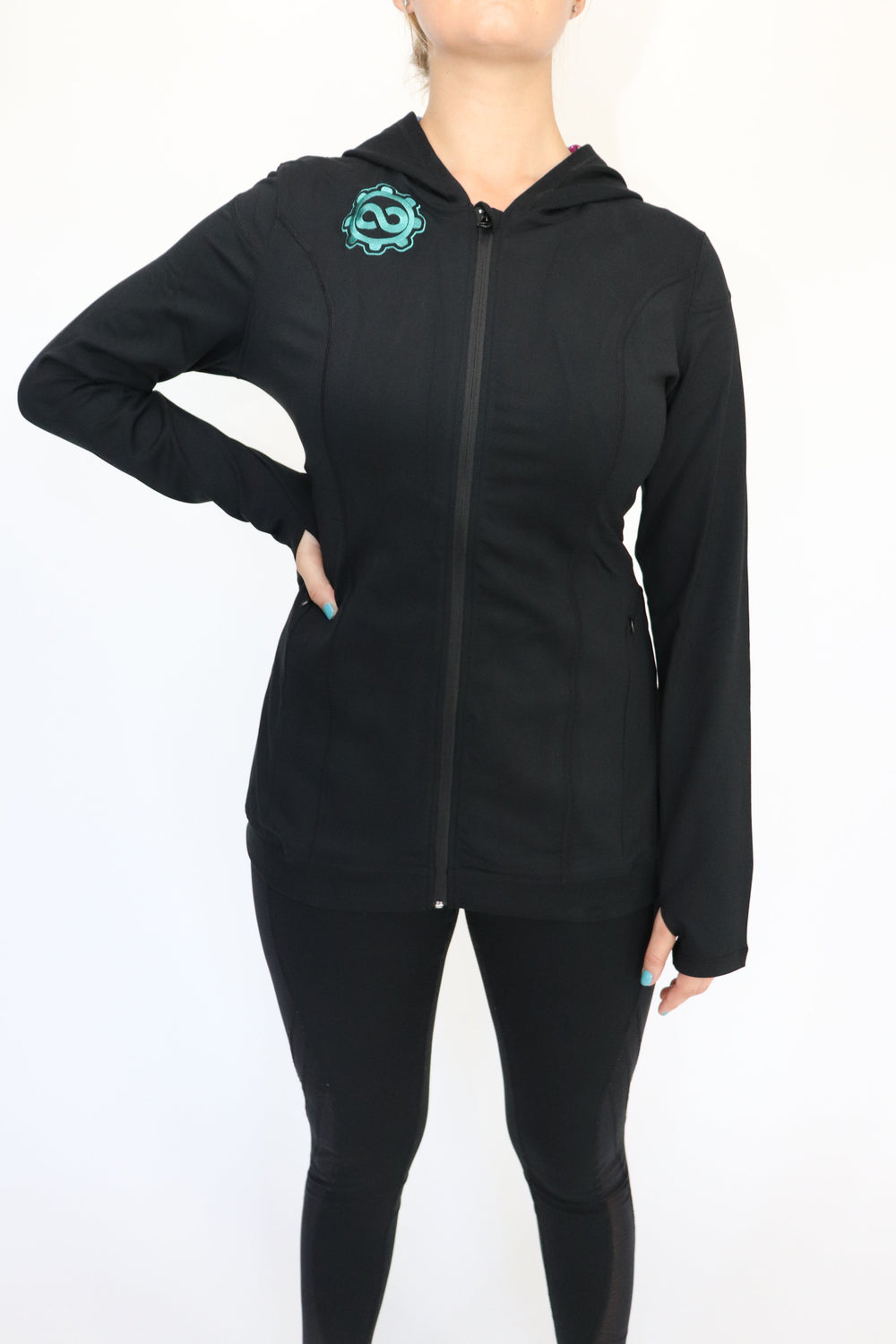 Women's Black Mandala Zip-Up Sports Jacket w/ Hood