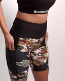 Women's Mid-Length Leaf & Cream Camo Workout Shorts