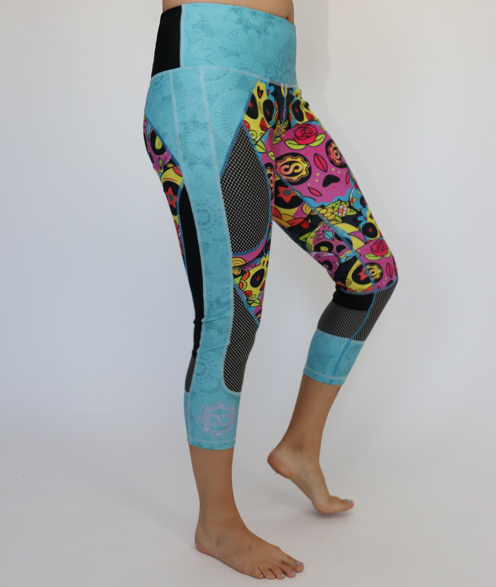 Women's Teal/Pink Sugar Skull Workout Capris