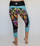 Teal/Pink Sugar Skull Workout Capris