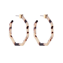 Load image into Gallery viewer, Geometric Leopard Hoops