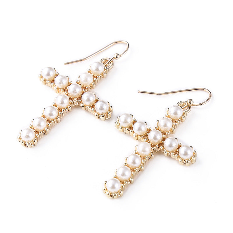 Pearl Cross Earrings