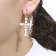 Load image into Gallery viewer, Pearl Cross Earrings