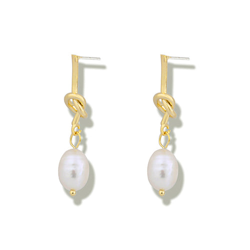 Gold Knot Pearl Earrings