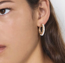 Load image into Gallery viewer, Constance Pearl Hoops