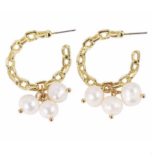Gold Chained Pearl Hoops