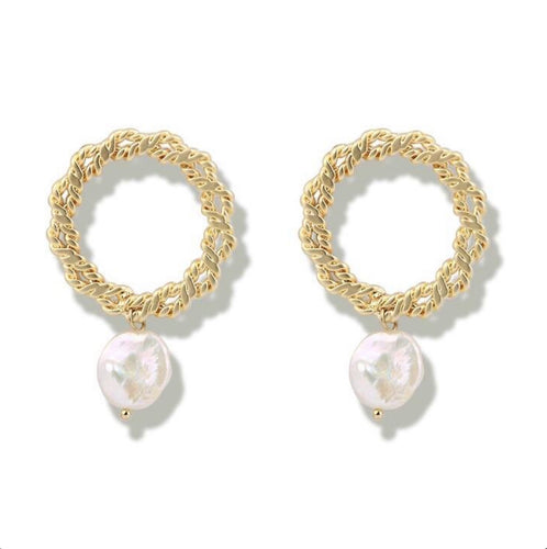 The Cleopatra Pearl Hoops