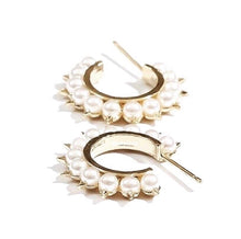 Load image into Gallery viewer, Spiked Pearl Hoop Earrings