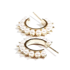 Spiked Pearl Hoop Earrings
