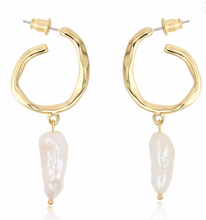 Load image into Gallery viewer, Pearl Drop Hoop Earrings