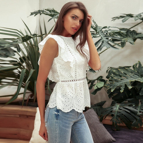 Ruffled O-Neck Tops