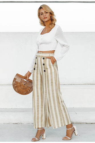 Striped linen casual trousers
