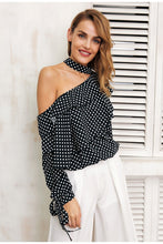Load image into Gallery viewer, One Shoulder Polka Dot Blouse