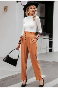 Ruffled high waist pants