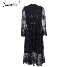 Load image into Gallery viewer, Simplee V neck long sleeve sequined party dresses women Sexy mesh streetwear midi dress female 2018 spring black dress vestido