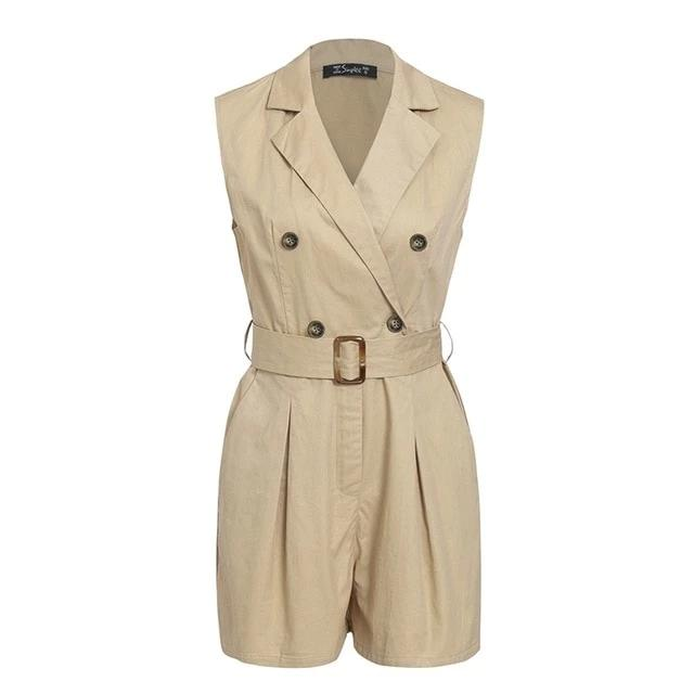 Khaki Cotton Jumpsuit