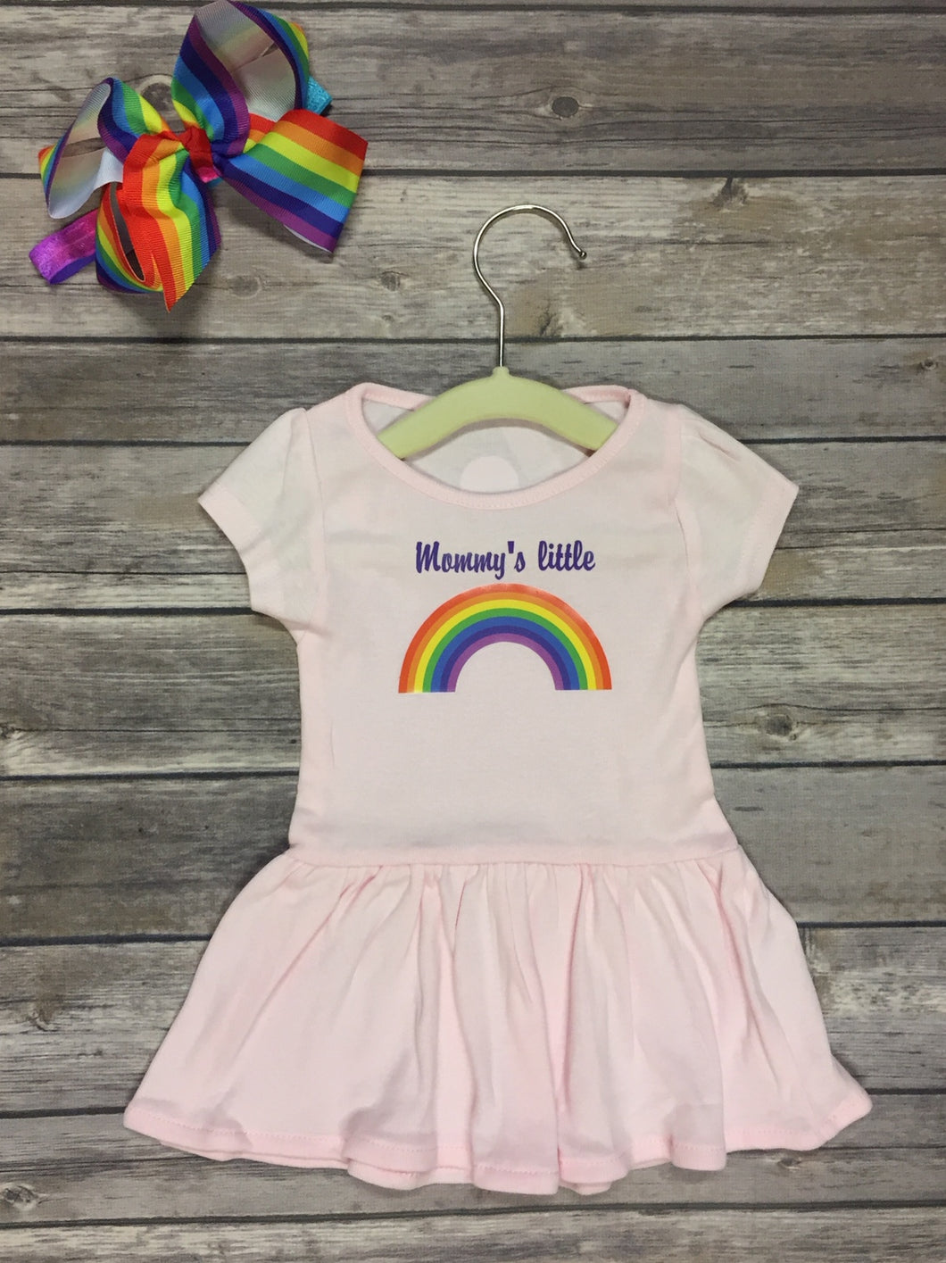 Mommy's Little Rainbow Infant Toddler Rib Dress